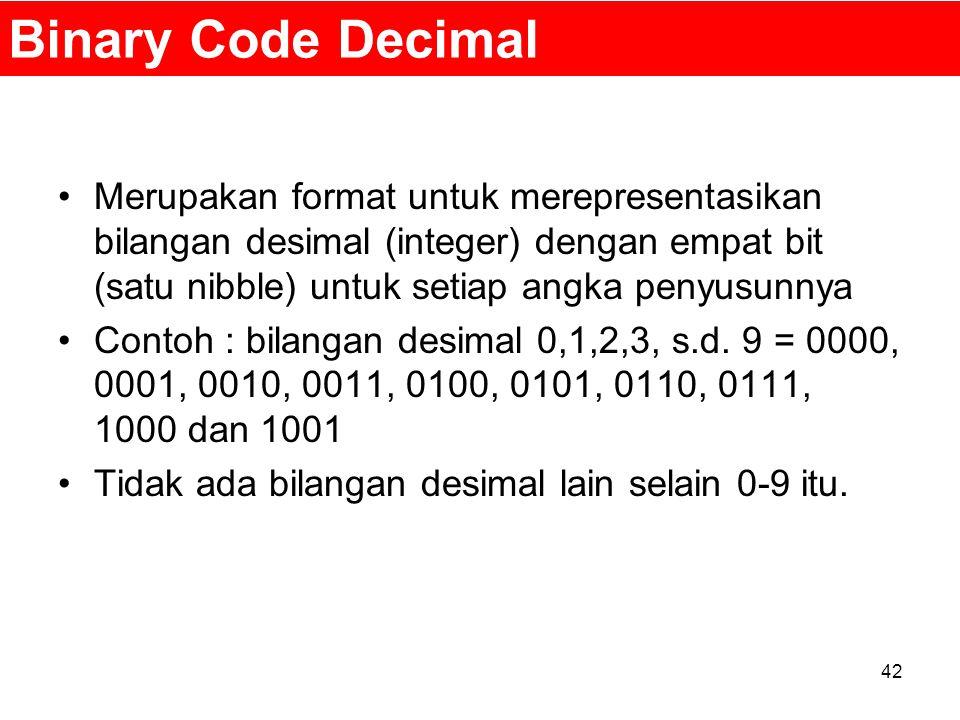 Binary Code Decimal Merupakan format untuk merepresentasikan bilangan desimal (integer) dengan empat bit (satu nibble) untuk setiap angka penyusunnya