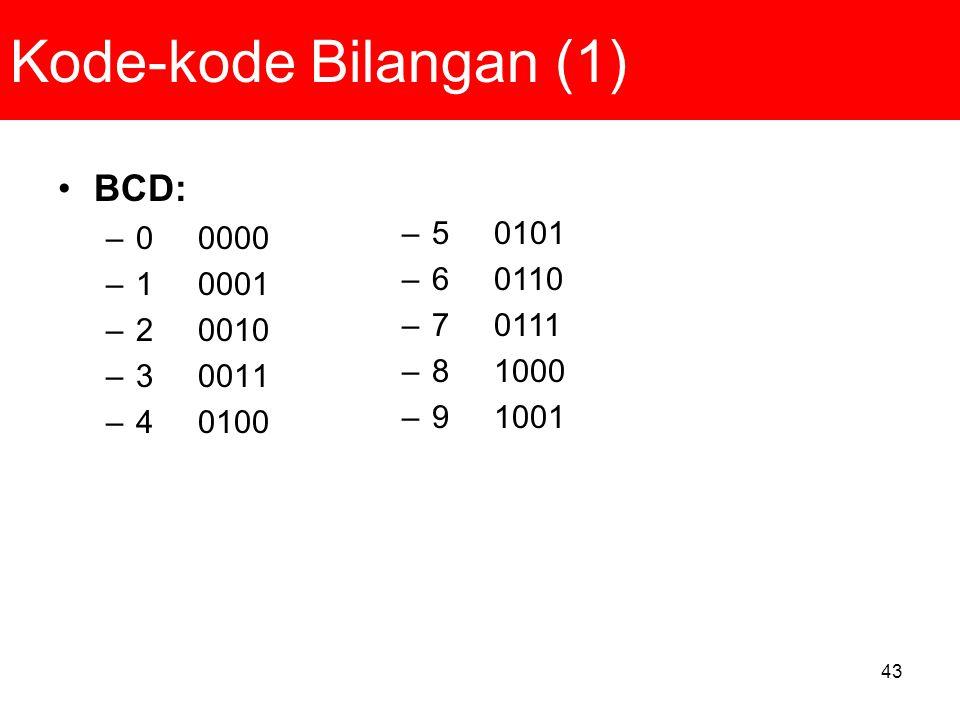 43 Kode-kode Bilangan (1) BCD: –0 0000 –1 0001 –2 0010 –3 0011 –4 0100 –5 0101 –6 0110 –7 0111 –8 1000 –9 1001