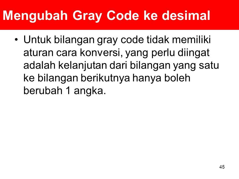 Mengubah Gray Code ke desimal Untuk bilangan gray code tidak memiliki aturan cara konversi, yang perlu diingat adalah kelanjutan dari bilangan yang sa