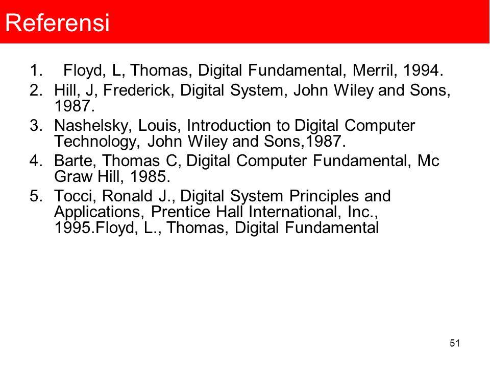 51 Referensi 1. Floyd, L, Thomas, Digital Fundamental, Merril, 1994. 2.Hill, J, Frederick, Digital System, John Wiley and Sons, 1987. 3.Nashelsky, Lou