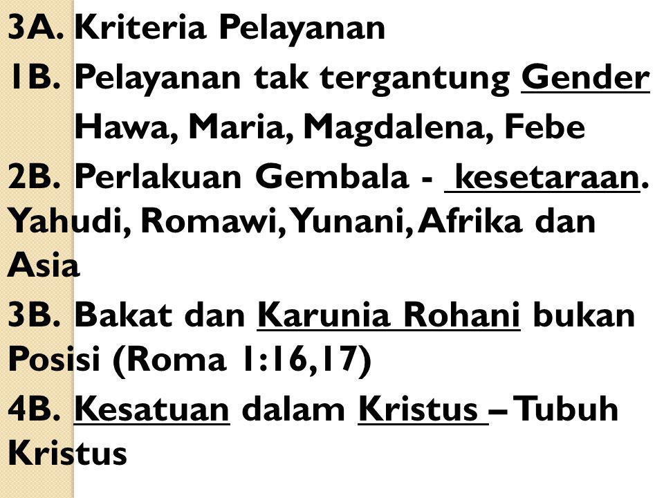 3A.Kriteria Pelayanan 1B.Pelayanan tak tergantung Gender Hawa, Maria, Magdalena, Febe 2B.Perlakuan Gembala - kesetaraan. Yahudi, Romawi, Yunani, Afrik