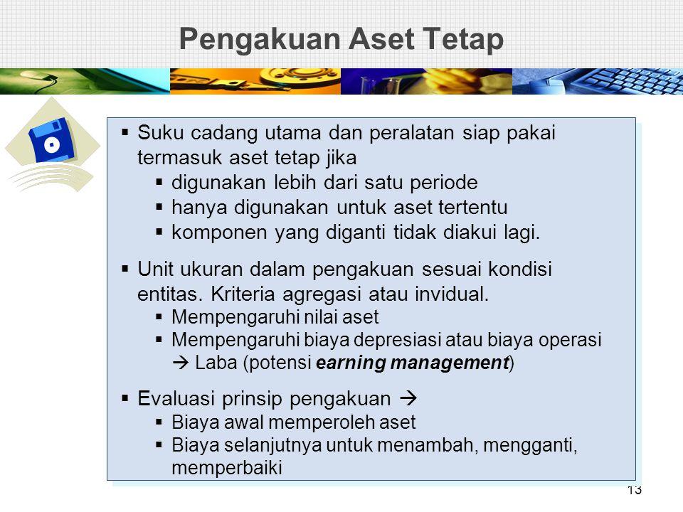 Pengakuan Aset Tetap 13  Suku cadang utama dan peralatan siap pakai termasuk aset tetap jika  digunakan lebih dari satu periode  hanya digunakan untuk aset tertentu  komponen yang diganti tidak diakui lagi.