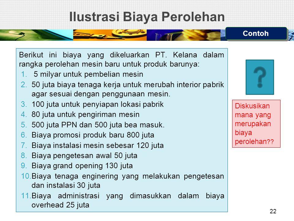 Ilustrasi Biaya Perolehan Berikut ini biaya yang dikeluarkan PT.