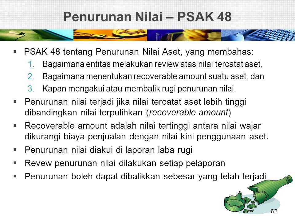 Penurunan Nilai – PSAK 48  PSAK 48 tentang Penurunan Nilai Aset, yang membahas: 1.Bagaimana entitas melakukan review atas nilai tercatat aset, 2.Baga