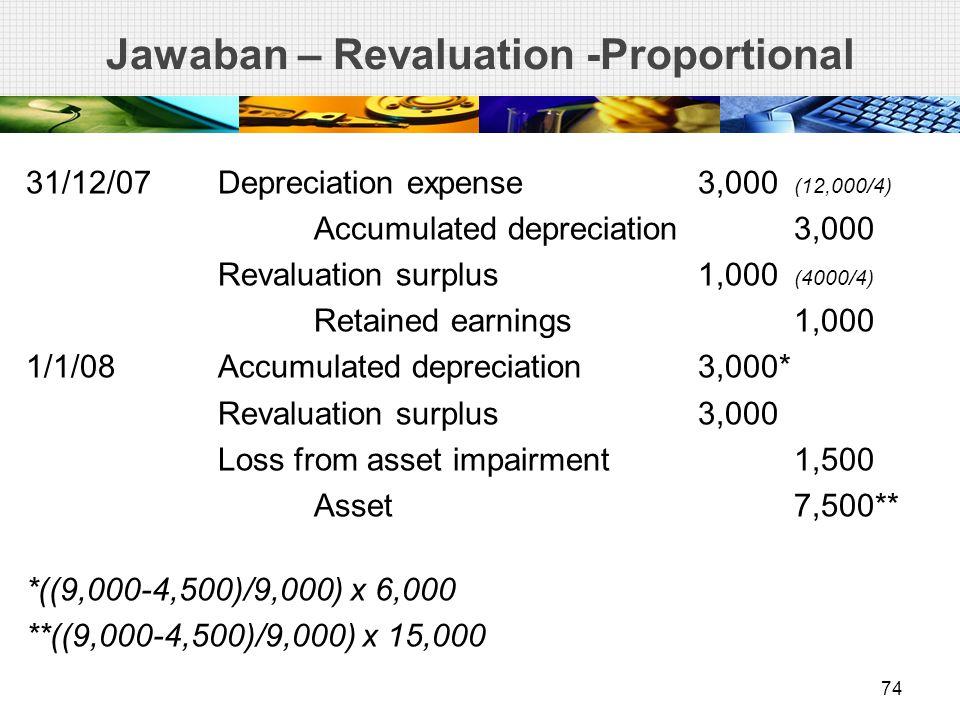 Jawaban – Revaluation -Proportional 31/12/07Depreciation expense3,000 (12,000/4) Accumulated depreciation3,000 Revaluation surplus1,000 (4000/4) Retained earnings1,000 1/1/08Accumulated depreciation3,000* Revaluation surplus3,000 Loss from asset impairment1,500 Asset7,500** *((9,000-4,500)/9,000) x 6,000 **((9,000-4,500)/9,000) x 15,000 74