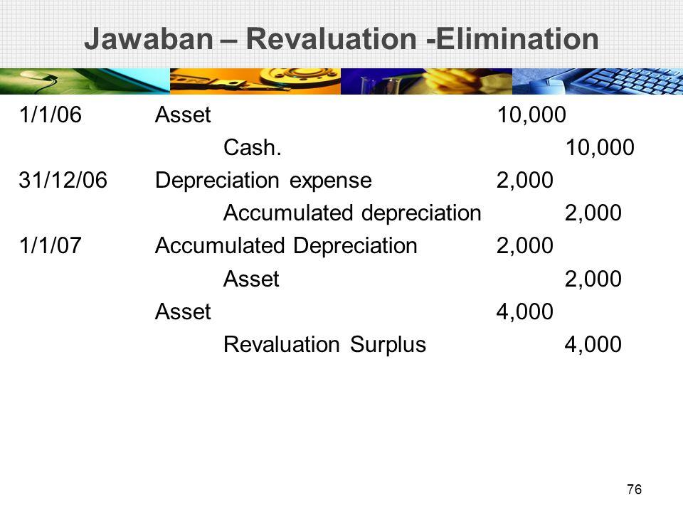 Jawaban – Revaluation -Elimination 1/1/06Asset10,000 Cash. 10,000 31/12/06Depreciation expense2,000 Accumulated depreciation2,000 1/1/07Accumulated De