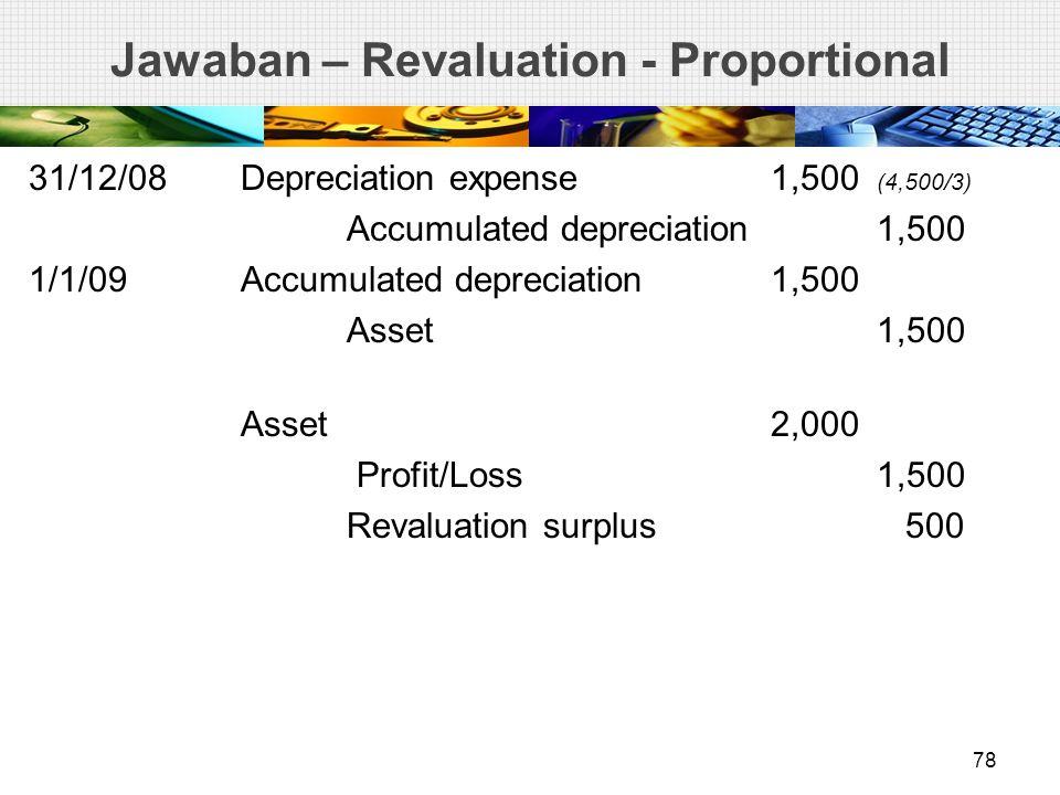 Jawaban – Revaluation - Proportional 31/12/08Depreciation expense1,500 (4,500/3) Accumulated depreciation1,500 1/1/09Accumulated depreciation1,500 Asset1,500 Asset2,000 Profit/Loss 1,500 Revaluation surplus 500 78