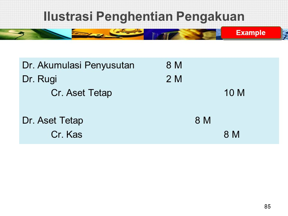 Ilustrasi Penghentian Pengakuan Dr. Akumulasi Penyusutan8 M Dr. Rugi2 M Cr. Aset Tetap10 M Dr. Aset Tetap8 M Cr. Kas8 M Example 85
