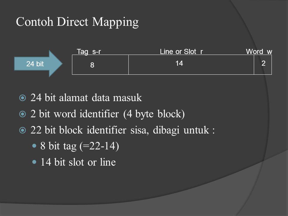 Contoh Direct Mapping  24 bit alamat data masuk  2 bit word identifier (4 byte block)  22 bit block identifier sisa, dibagi untuk : 8 bit tag (=22-14) 14 bit slot or line Tag s-rLine or Slot rWord w 8 142 24 bit