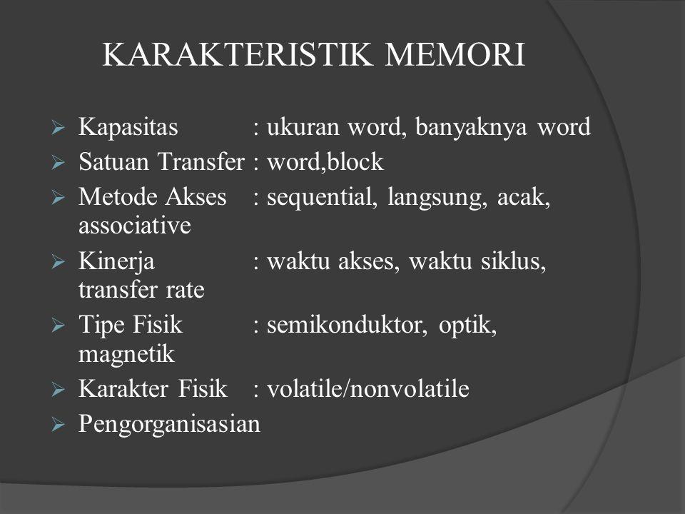 KARAKTERISTIK MEMORI  Kapasitas: ukuran word, banyaknya word  Satuan Transfer: word,block  Metode Akses: sequential, langsung, acak, associative  Kinerja: waktu akses, waktu siklus, transfer rate  Tipe Fisik: semikonduktor, optik, magnetik  Karakter Fisik: volatile/nonvolatile  Pengorganisasian