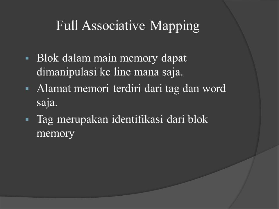 Full Associative Mapping  Blok dalam main memory dapat dimanipulasi ke line mana saja.  Alamat memori terdiri dari tag dan word saja.  Tag merupaka