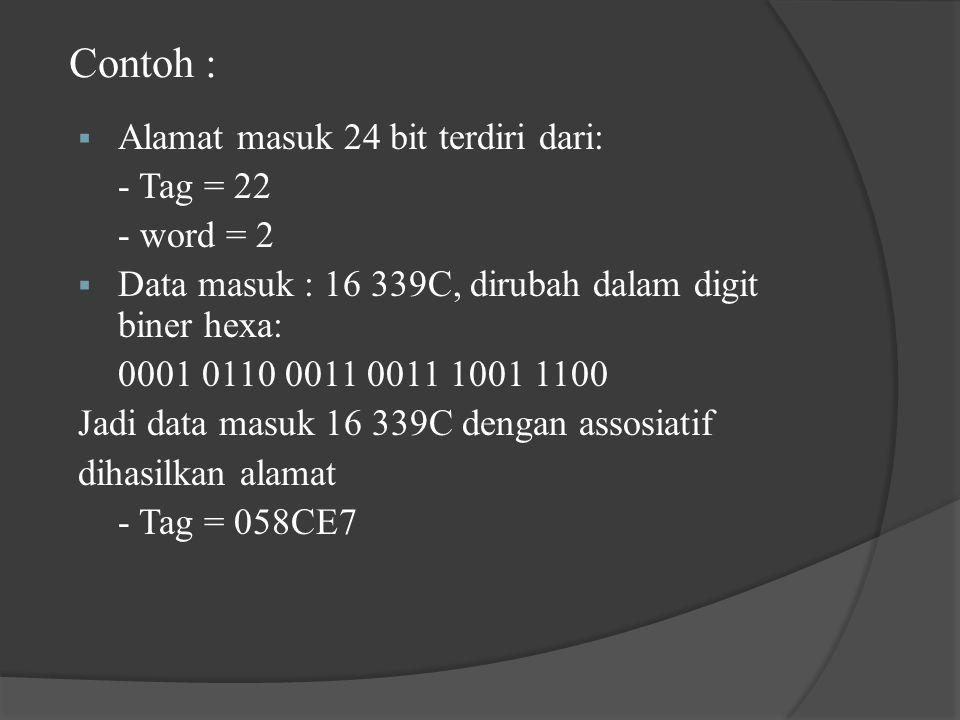 Contoh :  Alamat masuk 24 bit terdiri dari: - Tag = 22 - word = 2  Data masuk : 16 339C, dirubah dalam digit biner hexa: 0001 0110 0011 0011 1001 1100 Jadi data masuk 16 339C dengan assosiatif dihasilkan alamat - Tag = 058CE7