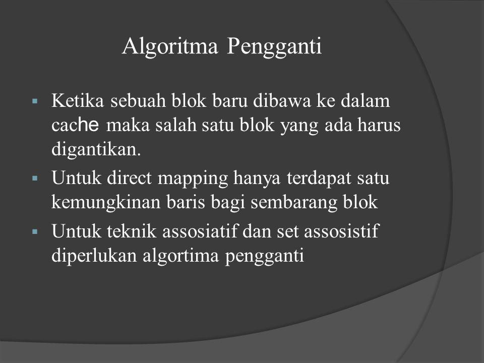 Algoritma Pengganti  Ketika sebuah blok baru dibawa ke dalam cac he maka salah satu blok yang ada harus digantikan.