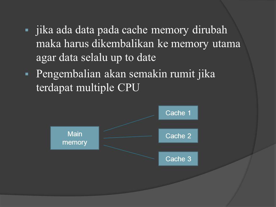  jika ada data pada cache memory dirubah maka harus dikembalikan ke memory utama agar data selalu up to date  Pengembalian akan semakin rumit jika terdapat multiple CPU Main memory Cache 1 Cache 3 Cache 2