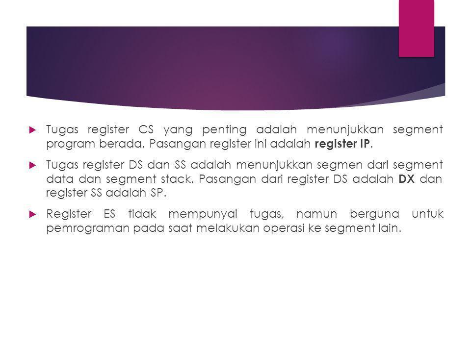  Tugas register CS yang penting adalah menunjukkan segment program berada.