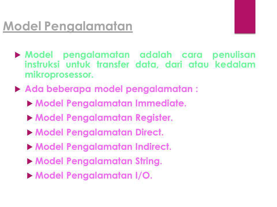 Model Pengalamatan  Model pengalamatan adalah cara penulisan instruksi untuk transfer data, dari atau kedalam mikroprosessor.