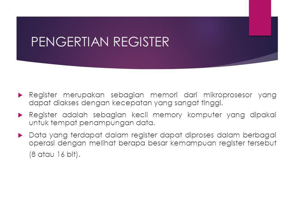 PENGERTIAN REGISTER  Register merupakan sebagian memori dari mikroprosesor yang dapat diakses dengan kecepatan yang sangat tinggi.