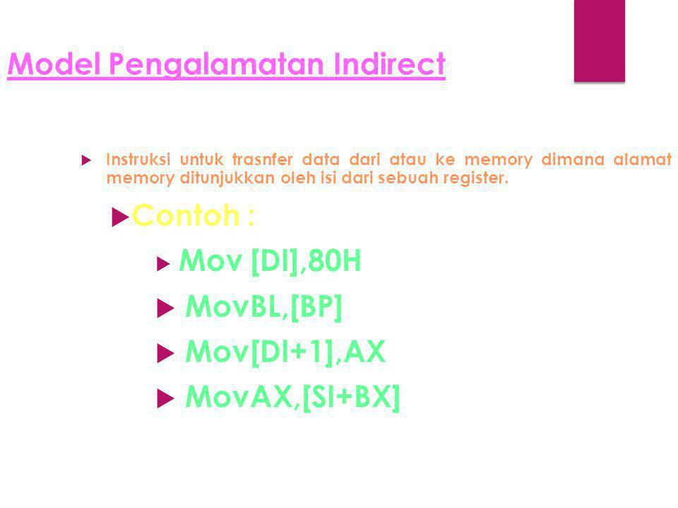 Model Pengalamatan Indirect  Instruksi untuk trasnfer data dari atau ke memory dimana alamat memory ditunjukkan oleh isi dari sebuah register.  Cont