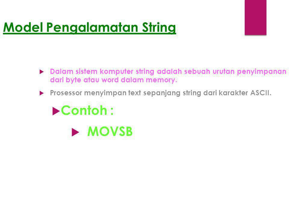 Model Pengalamatan String  Dalam sistem komputer string adalah sebuah urutan penyimpanan dari byte atau word dalam memory.  Prosessor menyimpan text