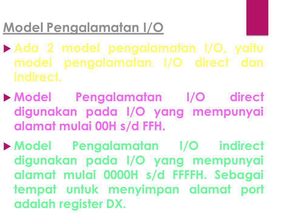 Model Pengalamatan I/O  Ada 2 model pengalamatan I/O, yaitu model pengalamatan I/O direct dan indirect.