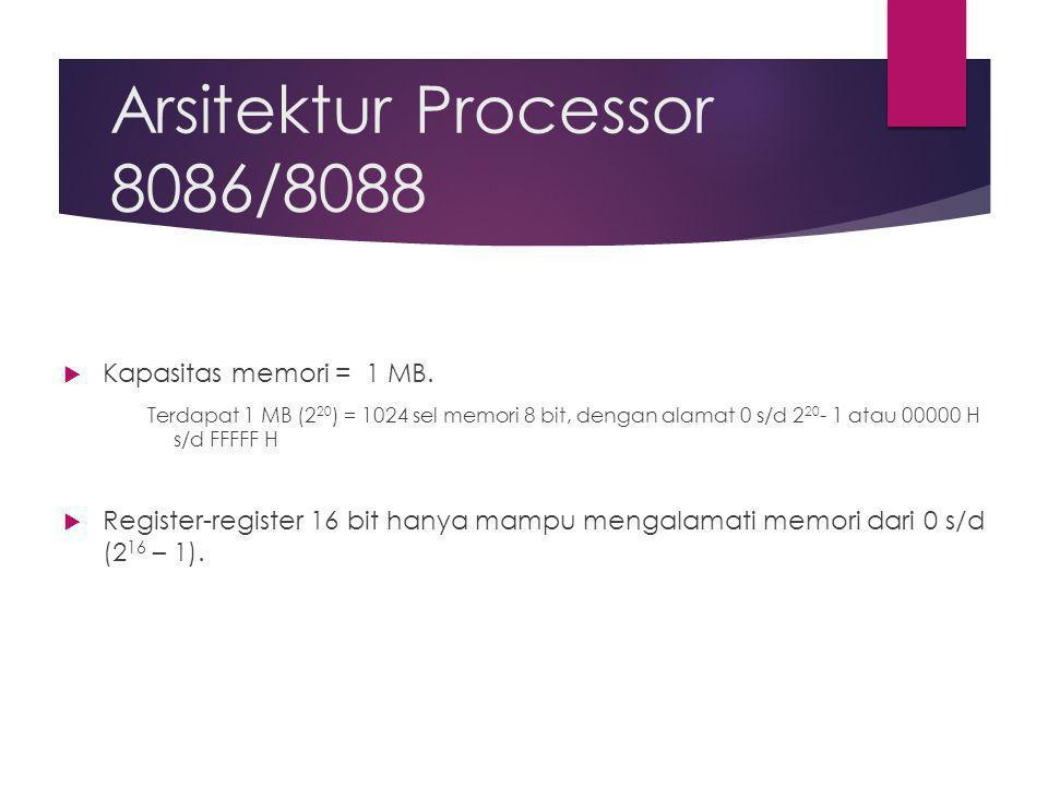 Arsitektur Processor 8086/8088  Kapasitas memori = 1 MB.