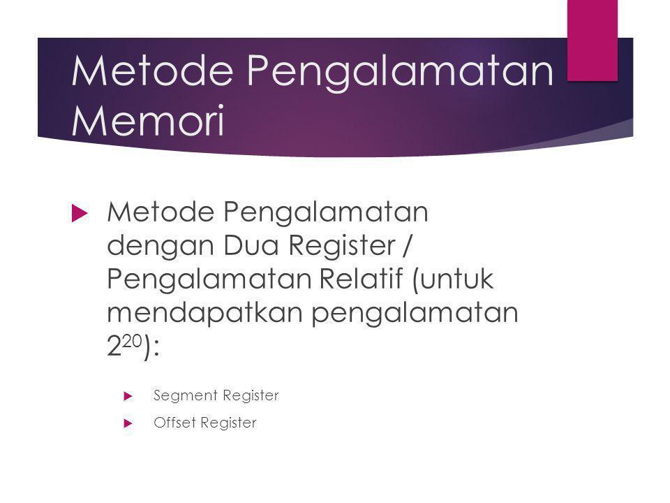 Metode Pengalamatan Memori  Metode Pengalamatan dengan Dua Register / Pengalamatan Relatif (untuk mendapatkan pengalamatan 2 20 ):  Segment Register  Offset Register