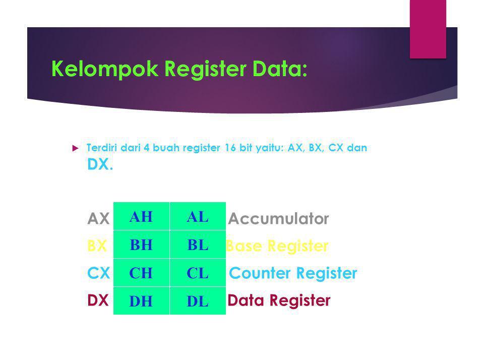 Kelompok Register Data:  Terdiri dari 4 buah register 16 bit yaitu: AX, BX, CX dan DX. AX Accumulator BX Base Register CX Counter Register DX Data Re