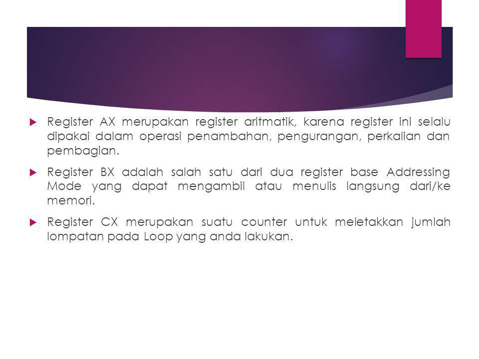  Register AX merupakan register aritmatik, karena register ini selalu dipakai dalam operasi penambahan, pengurangan, perkalian dan pembagian.  Regis