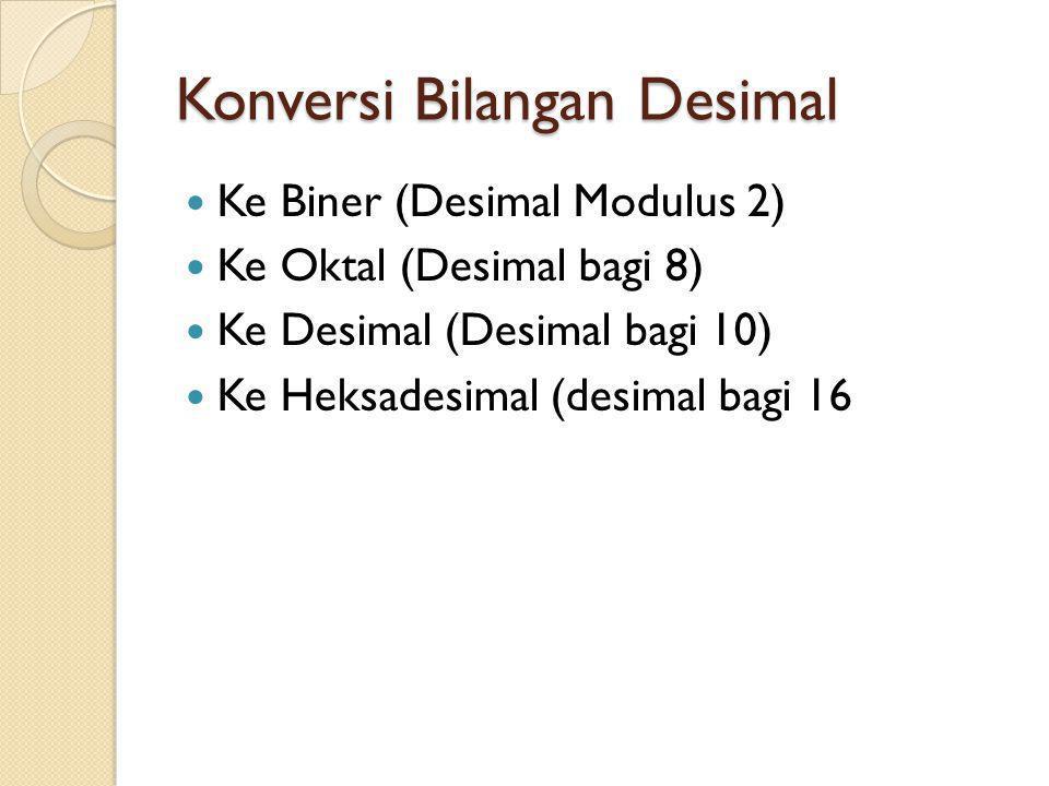 Konversi Bilangan Desimal Ke Biner (Desimal Modulus 2) Ke Oktal (Desimal bagi 8) Ke Desimal (Desimal bagi 10) Ke Heksadesimal (desimal bagi 16