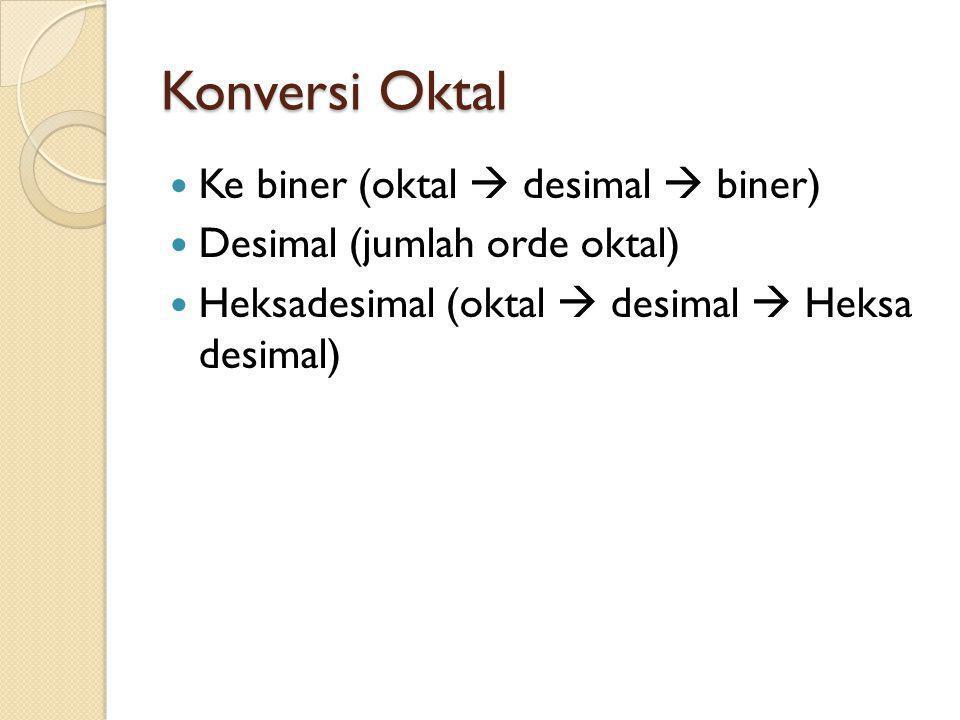 Konversi Oktal Ke biner (oktal  desimal  biner) Desimal (jumlah orde oktal) Heksadesimal (oktal  desimal  Heksa desimal)