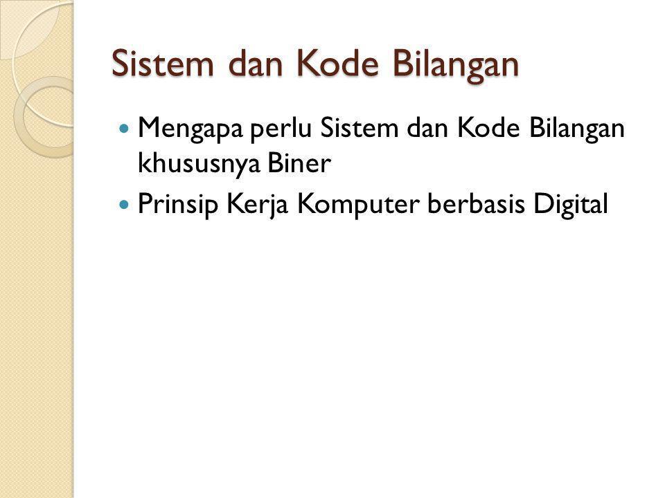Sistem dan Kode Bilangan Mengapa perlu Sistem dan Kode Bilangan khususnya Biner Prinsip Kerja Komputer berbasis Digital