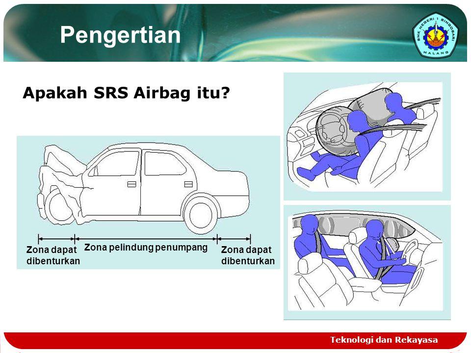 Teknologi dan Rekayasa Kelengkapan SRS Lebih dari 0.1 detik untuk benar-benar berhenti (tabrakan pada 50km/j) Menghantam interior pada kecepatan yang sama seperti jatuh dari gedung lantai 3 (tabrakan pada 50km/j) Kendaraan tanpa airbag (penumpang tidak memakai sabuk keselamatan) Kendaraan dengan airbag (penumpang memakai sabuk keselamatan) CIAS (Crash Impact Absorbing Structure) body SAFETY BELT (Sabuk Pengaman) penumpang Ada gerakan ekstrim penumpang Safety Belt menahan (tabrakan pada 50km/j) Crush Beads