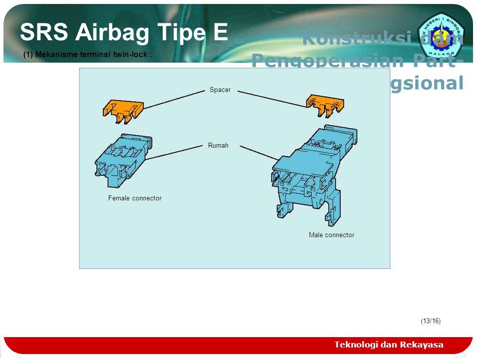 Teknologi dan Rekayasa (13/16) SRS Airbag Tipe E Konstruksi dam Pengoperasian Part- Part Fungsional Spacer Rumah Female connector Male connector (1) M