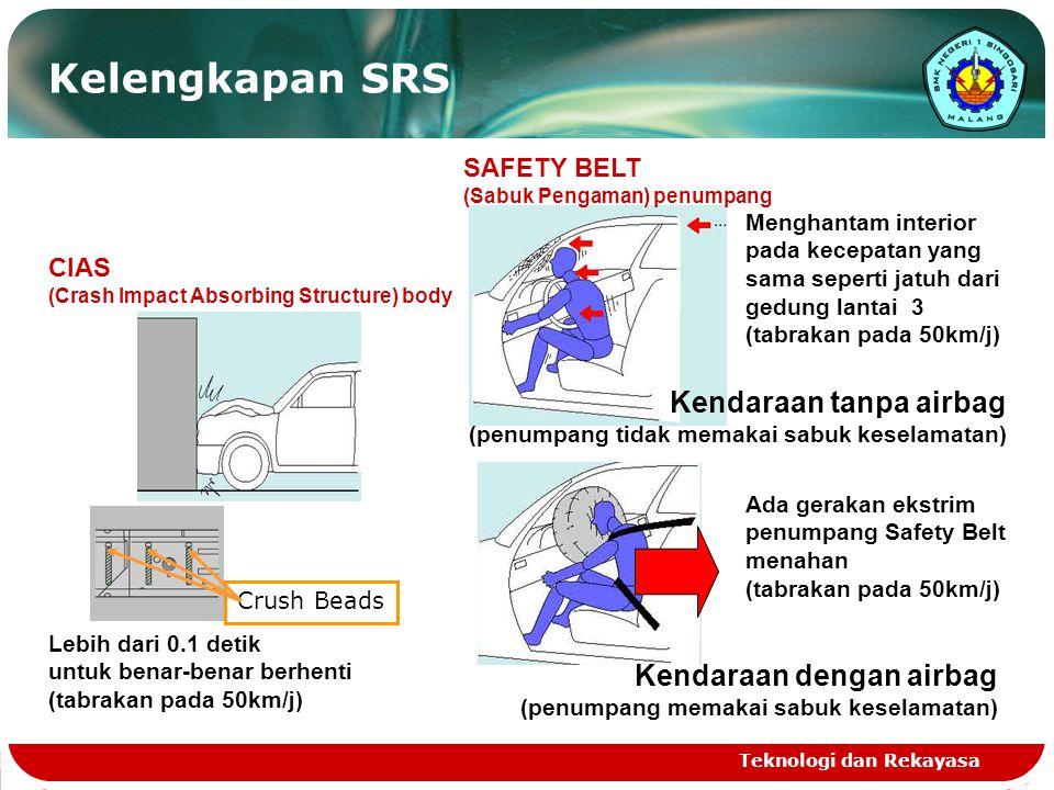 Teknologi dan Rekayasa Kelengkapan SRS Lebih dari 0.1 detik untuk benar-benar berhenti (tabrakan pada 50km/j) Menghantam interior pada kecepatan yang