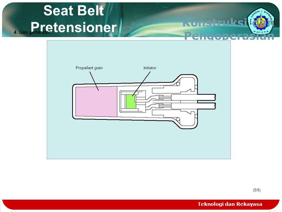 Teknologi dan Rekayasa (5/6)(5/6) Seat Belt Pretensioner Konstruksi dan Pengoperasian Propellant grainInitiator 4. Gas generator