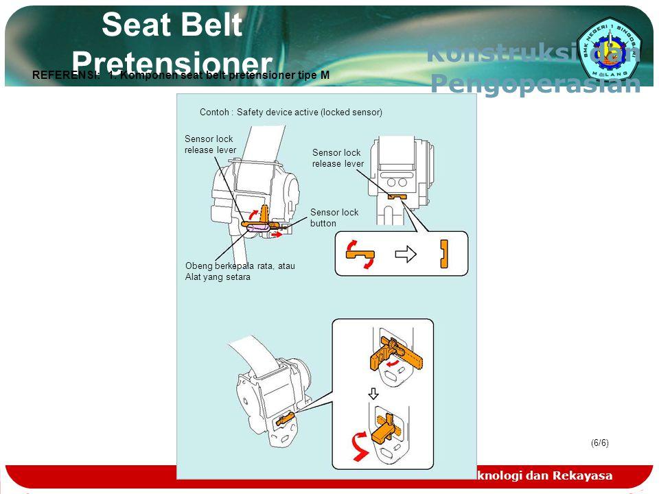 Teknologi dan Rekayasa (6/6)(6/6) Seat Belt Pretensioner Konstruksi dan Pengoperasian Contoh : Safety device active (locked sensor) Sensor lock releas