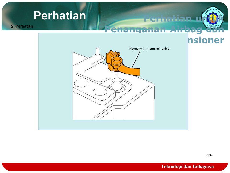 Teknologi dan Rekayasa (1/4) Perhatian Perhatian untuk Penanganan Airbag dan Seat Belt Pretensioner Negative ( - ) terminal cable 2. Perhatian
