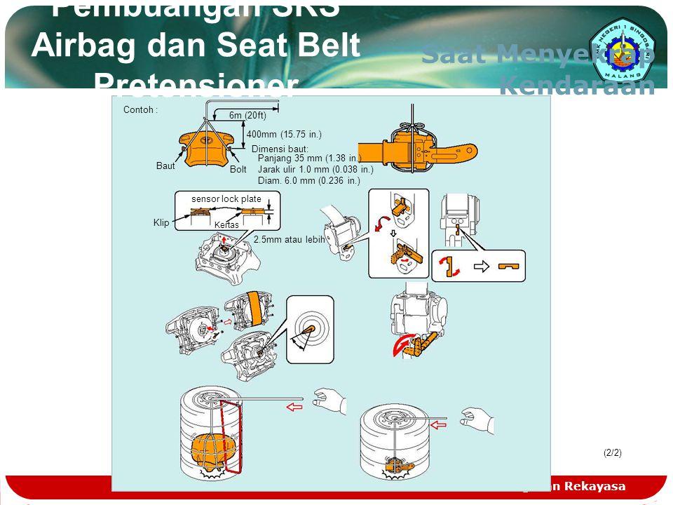 Teknologi dan Rekayasa Pembuangan SRS Airbag dan Seat Belt Pretensioner Saat Menyekrap Kendaraan (2/2) Contoh : 6m (20ft) 400mm (15.75 in.) Dimensi ba