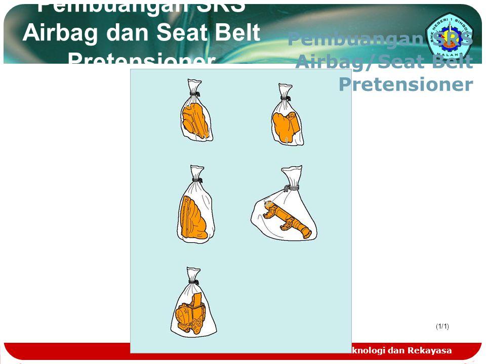 Teknologi dan Rekayasa Pembuangan SRS Airbag dan Seat Belt Pretensioner (1/1) Pembuangan SRS Airbag/Seat Belt Pretensioner