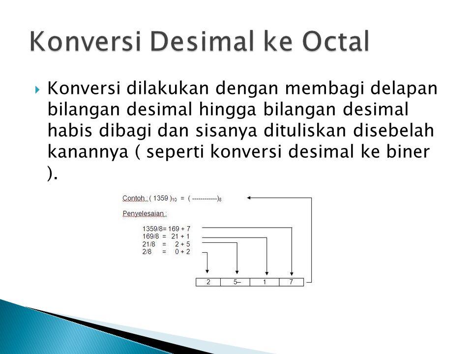  Konversi dilakukan dengan membagi delapan bilangan desimal hingga bilangan desimal habis dibagi dan sisanya dituliskan disebelah kanannya ( seperti