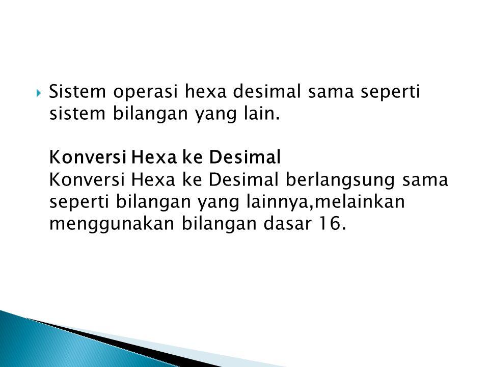  Sistem operasi hexa desimal sama seperti sistem bilangan yang lain. Konversi Hexa ke Desimal Konversi Hexa ke Desimal berlangsung sama seperti bilan