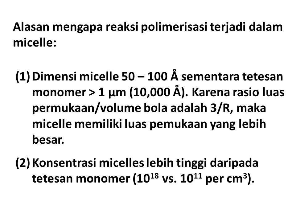 Alasan mengapa reaksi polimerisasi terjadi dalam micelle: (1)Dimensi micelle 50 – 100 Å sementara tetesan monomer > 1 μm (10,000 Å). Karena rasio luas