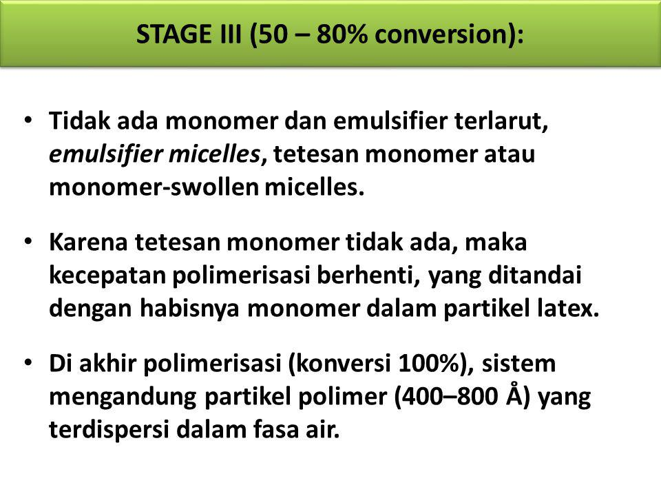 Tidak ada monomer dan emulsifier terlarut, emulsifier micelles, tetesan monomer atau monomer-swollen micelles. Karena tetesan monomer tidak ada, maka
