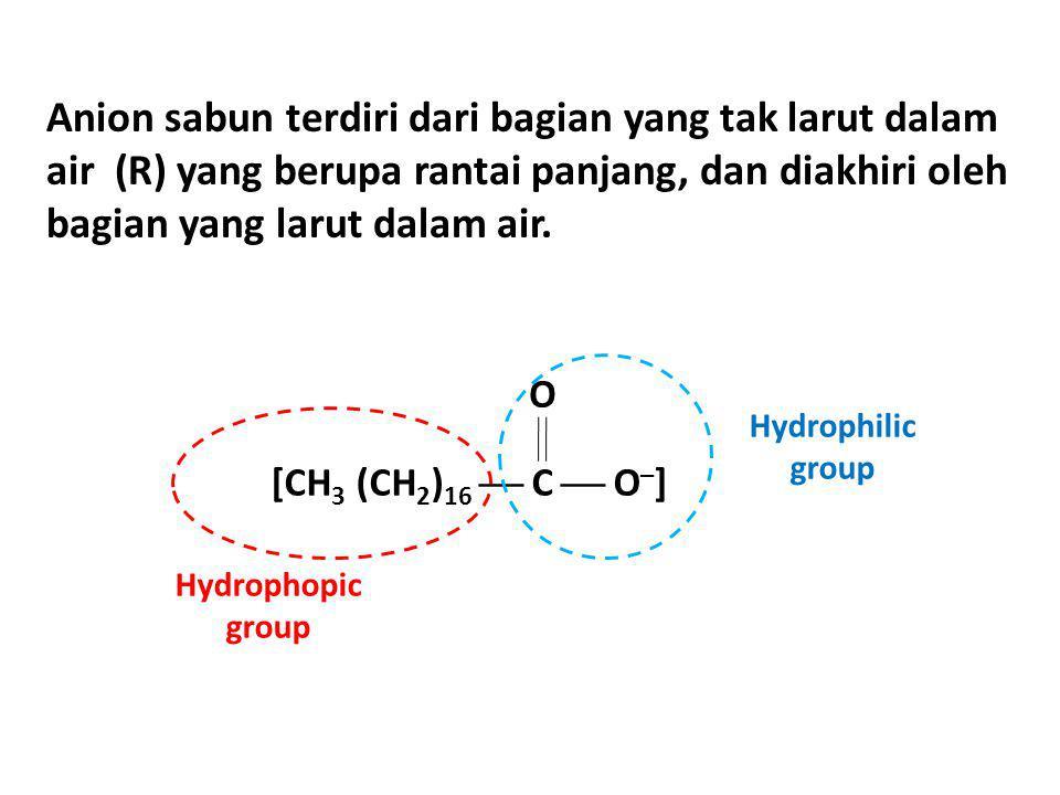 Anion sabun terdiri dari bagian yang tak larut dalam air (R) yang berupa rantai panjang, dan diakhiri oleh bagian yang larut dalam air. Hydrophopic gr
