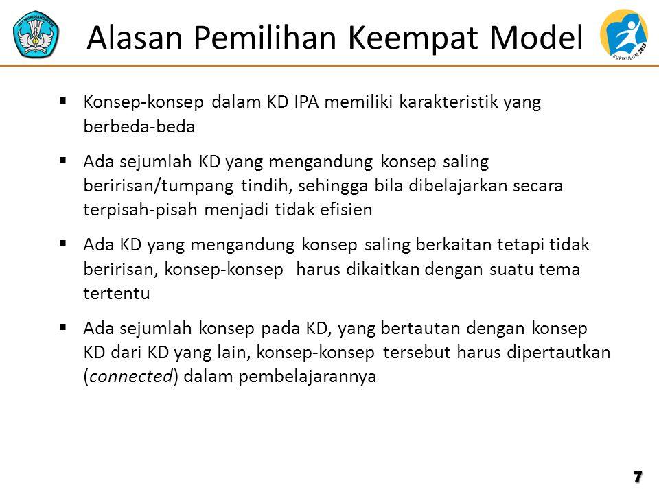 Alasan Pemilihan Keempat Model  Konsep-konsep dalam KD IPA memiliki karakteristik yang berbeda-beda  Ada sejumlah KD yang mengandung konsep saling b