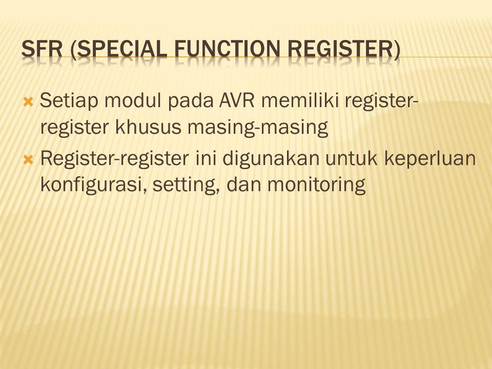  Setiap modul pada AVR memiliki register- register khusus masing-masing  Register-register ini digunakan untuk keperluan konfigurasi, setting, dan m