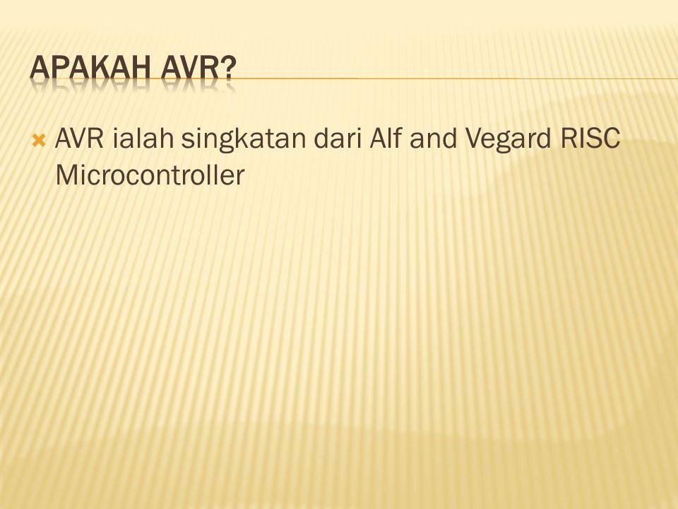  AVR ialah singkatan dari Alf and Vegard RISC Microcontroller