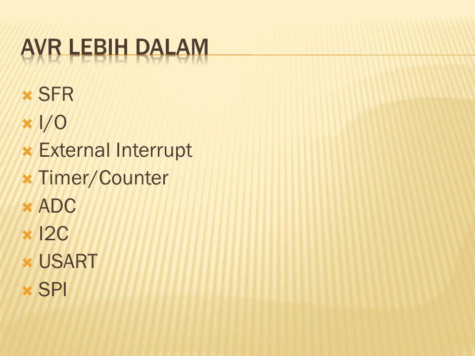  SFR  I/O  External Interrupt  Timer/Counter  ADC  I2C  USART  SPI