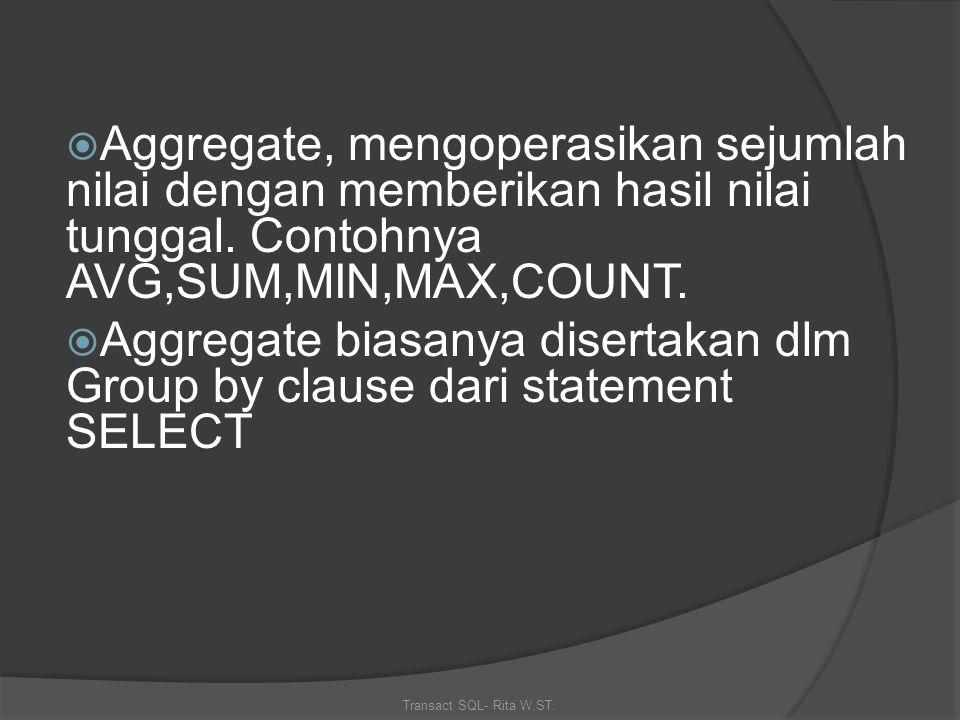 Transact SQL- Rita W,ST.