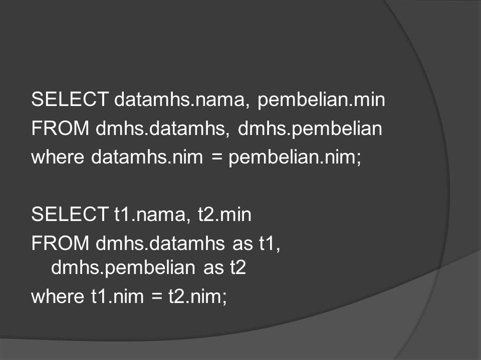 SELECT idbarang,oo1, oo2, oo1*oo2 FROM pembelian SELECT idbarang,oo1, oo2,'Rupiah', (oo1*oo2) as 'jumlah pembayaran' FROM pembelian